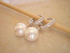 CZ Silver Hoops, White Swarovski Pearls Earrings, Bridal Jewelry, Bridesmaid Earrings, Wedding Jewlery, Mothers Day Jewelry on Etsy, $24.00