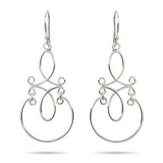 Sterling Silver Jewelry - Sterling Silver Scroll Design Dangle Earrings