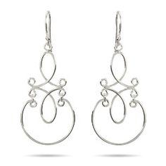Sterling Silver Jewelry - Sterling Silver Scroll Design Dangle Earrings
