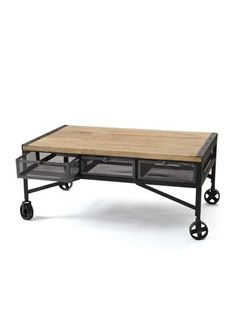 Throwback Coffee Table in Wood and Vintage Industrial Steel with Drawers