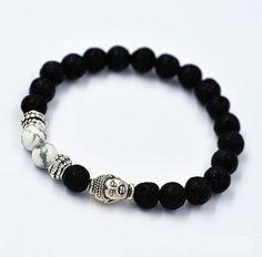 Fashion Lava Rock White Howlite Stone Gold Buddha Head Men's Bracelet 7mm beads #UnbrandedGeneric #Beaded