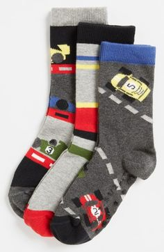 Nordstrom 'Racing Room' Crew Socks (3-Pack) (Little Boys) | Nordstrom