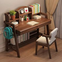 HDHUA Decoration Furniture Child's Wood Desk Student Study Desk with Bookshelf Great Gift for Girls and Boys – Best for 7 and 8 Year Olds (Color : Brown, Size : Decoration And Furniture, Decor, Study Room Decor, Bookshelf Desk, Desk And Chair Set, Furniture, Wood Desk, Kids Study Table, Study Desk