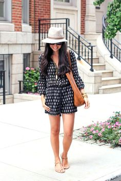 black and white romper