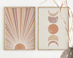 Sun and Moon Print Set of Decor ,Terracotta and Mauve Printable Mid Century Modern Min. - Sun and Moon Print Set of Decor ,Terracotta and Mauve Printable Mid Century Modern Minimal W - Print Moon, Art Soleil, Art Diy, Sun Art, Landscape Walls, Abstract Landscape, Abstract Art, Modern Wall Art, Wall Art Boho