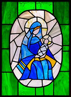 Madonna and Child Stained Glass Window by Marion Grisa.  #madonna #jesus #stained #glass #window