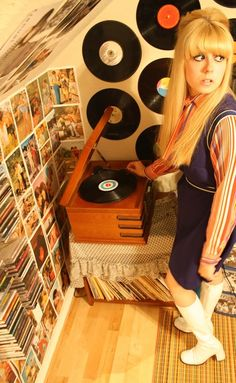 Turntable and vinyl record wall