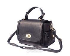 Small Italian Genuine Leather Black Handbag/Cross Body Bag with Shoulder Strap