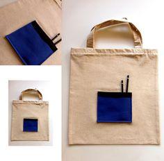 Torba na zakupy NATURAL BAGS - BLUE z kieszenią w HANAKO na DaWanda.com