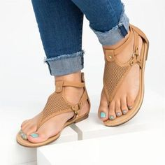 New Women's Casual Rome Solid Hollow Out Open Toe Zipper Sandals Flat With Shoes Low Heel Sandals, Low Heels, Flip Flop Sandals, Flat Sandals, Leather Sandals, Shoes Sandals, Flip Flops, Aldo Shoes, Boho Sandals