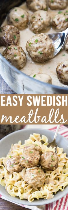 These easy Swedish meatballs are covered in a rich and creamy sauce and ready in only about 15 minutes! (Baking Meatballs In Sauce) Casserole Recipes, Meat Recipes, Cooking Recipes, Diabetic Recipes, Recipies, Beef Dishes, Food Dishes, Main Dishes, Potato Dishes