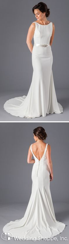 Kennedy Blue Danielle: A simple, yet oh-so chic wedding dress with a fitted sheath silhouette. Made of lightweight crepe fabric, its high, sleeveless neckline is timeless, but turn around and jaws will drop.