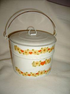 Vintage Metal Tin Bucket Container Box Lunch Orange Folk Art Primitive
