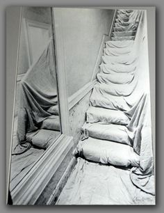 White staircase by Christo Land Art, Nouveau Realisme, Christo And Jeanne Claude, Claes Oldenburg, Hanging Fabric, Architectural Features, Installation Art, Sculpture Art, Contemporary Art