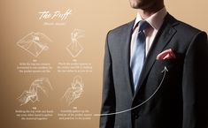 """Pocket square folding techniques: """"The Puff"""""""