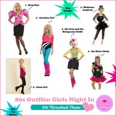 6 Totally Cool Party Outfits for an 80s Party Theme: http://www.bellenza.com/party-ideas/style/fun-80s-party-outfits-girls-night-like-totally #80spartyideas #80spartyoutfits #80spartytheme