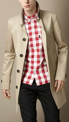 Khaki Trench, Red Check Shirt and Black Chinos. Men's Spring Summer Fashion.