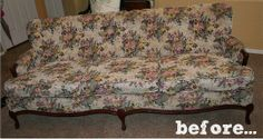 Before & After:  The Pretty Painted Sofa Makeover     Fabric Bliss
