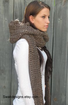 The MESSENGER Hooded Scarf Chunky Scoodie Wood by SWAKCouture, $74.00