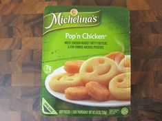 "Michelina's Pop'n Chicken features ""white chicken nugget fritters and fun formed mashed potatoes.""  A 4.5-oz container includes four nuggets and five mashed potato smileys and cost me $1. The chicken nuggets are probably the smallest I've seen in a frozen meal. The mashed potato smileys were smooth (the chicken was also quite smooth) and a little dry inside.  When it comes down to it, Michelina's Pop'n Chicken was very reminiscent of the cafeteria lunches I had as a kid White Chicken, Frozen Meals, Chicken Nuggets, Smileys, Fritters, Lunches, Baby Girls, Mashed Potatoes, Container"