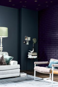 Winter decorating ideas: Jewel ccolors: 'Strong and velvety, Galactic Sky (bricks) brings depth and a sense of luxury, and looks as stunning on the walls as it does on furniture and accessories. Team it with white, or contrasting rich burnt orange and the warm tones of natural wood,' Marianne Shillingford, Dulux. Find more ideas at housebeautiful.co.uk