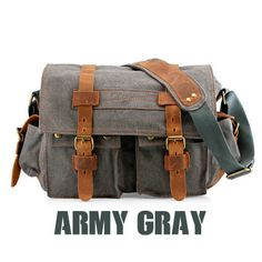 d3f0ccb7b3 Gearonic Men s Vintage Canvas and Leather School Military Shoulder Bag  (slate)