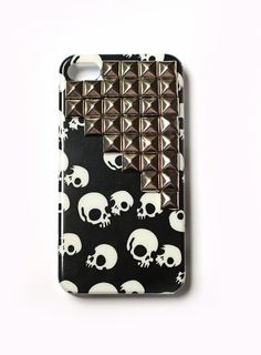 Silver Studded cellphone case Skull iphone 4 case by honeycrush, $18.80