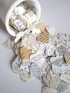 Boek huwelijksgunsten, Paper Confetti, boek confetti bruiloft confetti, hart confetti, bruids confetti, boek minnaar, papieren harten, oude boeken