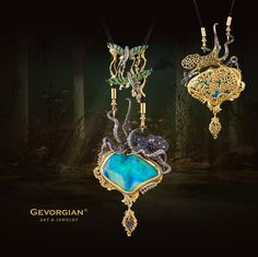 """Necklace """"Lord of the Seas"""" by GEVORGIAN. A charming marine-style pendant with a fascinating story and design. It seems as if it's not you who is looking at sea creatures, but they are looking through a bathyscaphe window with their eyes fixed on the underwater world intruders. www.gevorgian.ru"""