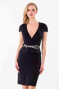 Fitted cocktail dress with cap sleeves, v neckline, petite peplum, and embellished belt.  Terani Cocktail - 1521C0232
