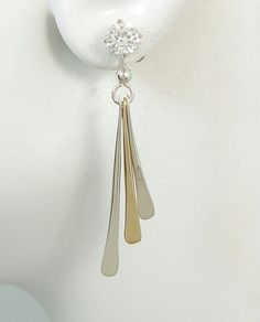 Earring Jackets Two Tone Silver And Gold Stud Jacket Post Ear For Studs Dangle Triple Jd8ttgfss