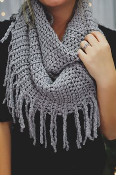 Grey Chunky Knit Fringe Infinity Scarf | UOIonline.com: Women's Clothing Boutique
