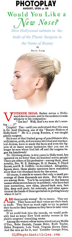 Cosmetic Surgery in Hollywood (Photoplay Magazine, Body Modifications, Plastic Surgery, Genetics, 1930s, Hollywood, Cosmetics, Magazine, Beauty, Body Mods
