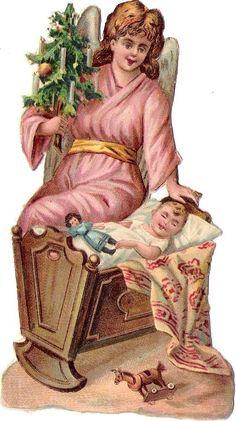 Oblaten Glanzbild scrap diecut Engel angel XMAS Weihnachten Baum Baby Wiege Kind