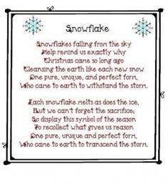 Snowflakes falling from the sky Help remind us exactly why Christmas came so long ago Cleansing the earth like each new snow One pure, unique, and perfect form… Christmas Verses, 12 Days Of Christmas, A Christmas Story, Winter Christmas, Christmas Parties, Christmas Nails, Merry Christmas, Christmas Activities, Christmas Printables