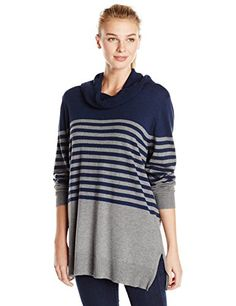 8142e71af25400 Knits by Hampshire Women s Striped Cowl Pullover Sweater