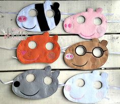 Peppa Pig and Friends mask set by IBBBowtique on Etsy