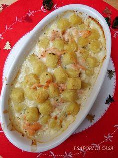 GNOCCHI AL SALMONE GRATINATI AL FORNO Gnocchi Recipes, Pasta Recipes, Fish Dishes, Pasta Dishes, Cannelloni, Crepes, Brunch, Yummy Food, Tasty