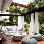 Coolest Terrace With Pergola And White Curtain For Terrace Design For Impressive And Innovative Inspiring Ideas