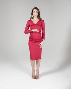 654dbaffc4 Eva Alexander - Ruched midi maternity dress in Red (RRP £85) 5 day