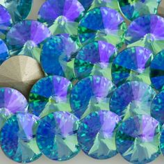 Six Swarovski Crystal SS39 1122 Rivoli Aquamarine Glacier Blue (202 GB | Auracrystals