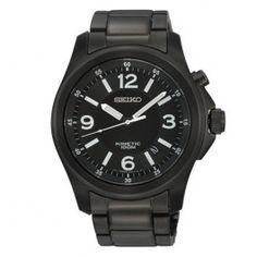 Seiko Kinetic Mens Black Ion Plated Watch SKA465P1 SKA465 $249.