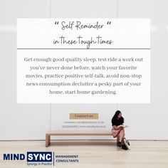 COVID19 has radically changed the way we live, from our work to our learning to our social lives. Now more than ever, practicing self-care is essential when it comes to taking care of our emotional health and well-being. Stay Home! Stay Safe! Contact us for any #business #compliance #service: customer.care@mindsync.co.in | 9343390988 | www.mindsync.co.in #mindsyncindia #staysafe #regulatory #legalservice #labourlaw #companyregistration #legalmetrology #modelapproval #labelreview #fssai #cosm Positive Self Talk, Self Reminder, Non Stop, Tough Times, Stay Safe, Self Care, Management, Mindfulness, Things To Come