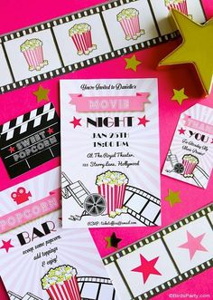 Movie Night Party Ideas in Pink, Gold and Black - easy, glam and girly ideas for hosting a cinema birthday party premiere, or watching the Oscars! Movie Night Invitations, Birthday Invitations, Printable Invitations, Party Printables, Soirée Des Oscars, Baby Showers, Movie Night Party, Movie Nights, Birthday Themes For Adults