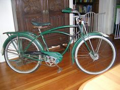 1953 Schwinn Green Phantom, B. Schwinn Bikes, Lowrider Bicycle, Bike Stuff, Vintage Bicycles, Old And New, Wheels, City, Colors, Book