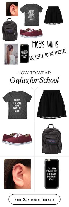"""""""First Day of School"""" by meggiefitzgerald on Polyvore featuring JanSport, even&odd, Vans and Casetify"""