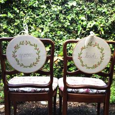 embroidered mr and mrs chair signs   via bride and groom chair signs http://emmalinebride.com/decor/bride-and-groom-chairs/