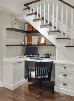 Basement remodeling office _ keller umbau büro _ … – Home Office Design On A Budget Interior Stairs, Understairs Storage, New Homes, Diy Stairs, Basement Remodeling, Desk Under Stairs, Stairs Design, Home, Stair Decor