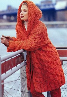 INSTANT DOWNLOAD PDF KNITTING PATTERN for Chunky Hooded Jacket This vintage US knitting pattern for a comfy chunky jacket with a hood has been digitally cleaned and enlarged for ease of use  Fabulous stylish and cosy knitted coat with lovely stitch textures - aran style cables and moss or seed stitch. Corded edge.  Instructions for small, medium and large - generous loose fitting  Super Bulky or Super Chunky yarn and 10.00mm or US size 15 needles, circular needles, double pointed needles…