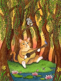 Pumpkin cat art print guitar squirrel forest tree music banjo willow